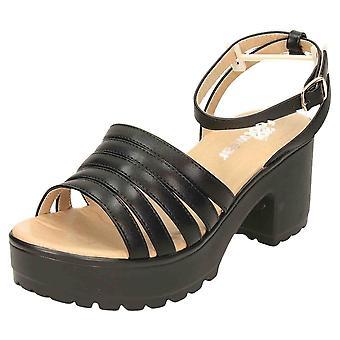 Koi Footwear Chunky Platform Sandals Strappy Peep Toe Mid Heel Black