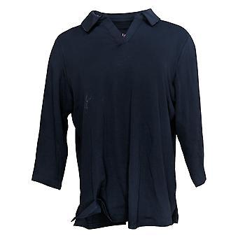 Isaac Mizrahi En direct! Femmes's Top Pima Cotton Collared Knit Blue A384114