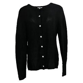 Denim & Co. Mulheres's Suéter Rib Knit Crew Neck Button Front Black A389294
