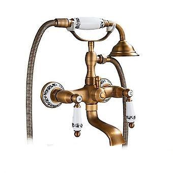 Antique Bronze Bathtub Shower Faucet W/ Brass Spray Wall Mount Water Mixer /