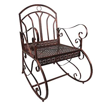 Outsunny Metal Single Chair 1 Seater Garden Outdoor Rocking Chair Vintage Style Bronze
