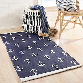 Spura Home Blue Anchor Transitional 3x5 Area Rug for Bedroom