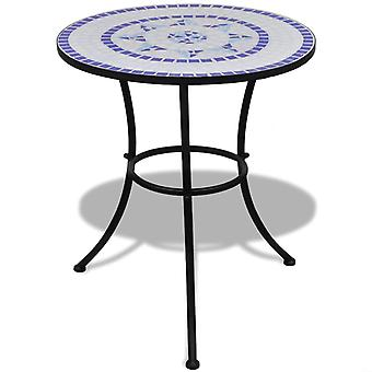 Tavolo bistrot mosaico blu e bianco da 60 cm