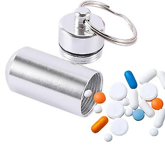 1pc Creative Stainless Steel Medicine Bottle Keychain Case Container Holder