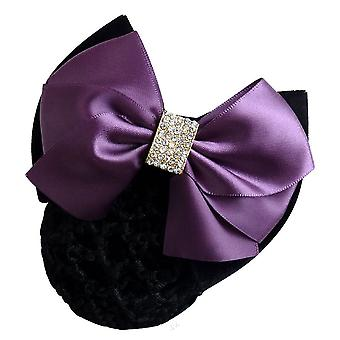 Women Bow Barrette Hair Clip Cover Bowknot Net Bun Snood Hairpin