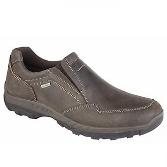 IMAC Flint Mens Waxy Leather Slip On Shoes Brown