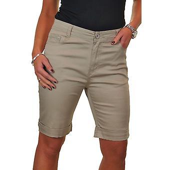 Damen Stretch Jeans Style Shorts Chino Pailletten Taschen 14-24