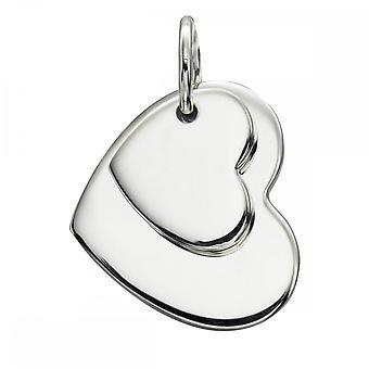 بدايات الجنيه الاسترليني الفضة مزدوجة القلب علامة قلادة P4176
