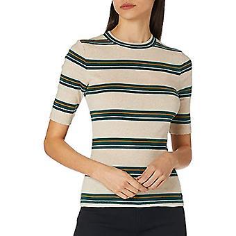 TOM TAILOR Denim Streifen T-Shirt, 25611-Beige Green Stripe, X-Large Woman