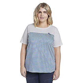TOM TAILOR MY TRUE ME Basic Streifen T-Shirt, 10315/Whisper White, 50 Woman