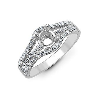 Jewelco London Solid 18ct White Gold Pave Set Round G SI1 0.5ct Diamond Semi Set Mount Engagement Ring 9mm