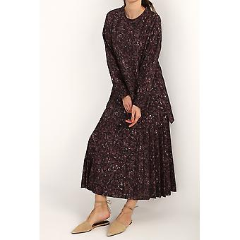 Animal Print Comfy Long Blouse & Pleated Skirt 2 Peças Definidas