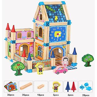 128/268Pcs diy doll house hand-assembled happy family building blocks sets diy educational toys for kids girls gift