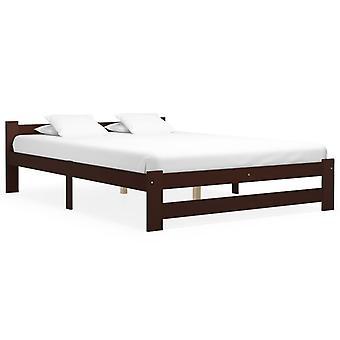 vidaXL السرير الإطار البني الداكن الصنوبر الخشب الصلب 160x200 سم