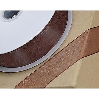 25m sjokolade brun 15mm bred vevd kant organza bånd for håndverk