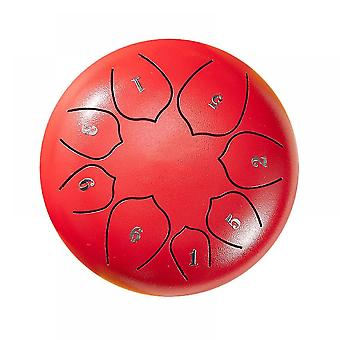 Steel Tongue Drum 8 Notes 6 Inches Metal Hand Drum Kit(Red)
