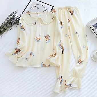 Japanese New Ladies Spring And Summer Cotton Crepe Pajamas Two-piece L
