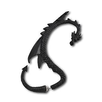 Alchemy Gothic Black Dragon dwustronna Wrap kolczyk w uchu