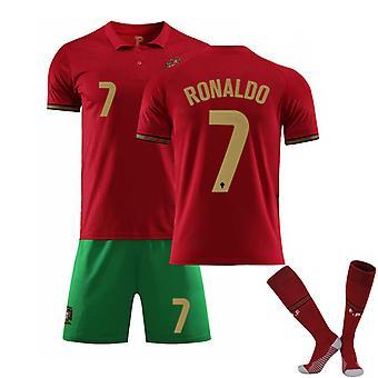 Cristiano Ronaldo #7 CR7 Jersey Uusi kausi Portugali Koti Jalkapallo T-paidat Jersey Set lapsille Nuorille