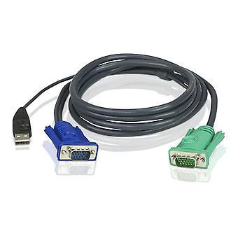 ATÉNY, KVM kabeláž, SPHD15 ha až HD15 ha & USB typ A ha, 2m