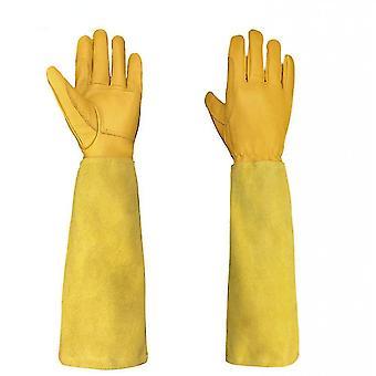 Safety gloves gardening gardening long cowhide sheep skin resistant beeing beeper electrical welding argon knife