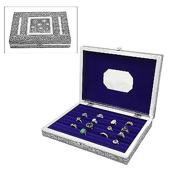 Schmuck geprägt Ring Box mit Spiegel aus Teak und MDF Holz