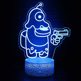 Enfants Jeu cadeau parmi nous Capteur de lumière de nuit Tactile Chambre 3d Illusion Night Light Ledanime Lampe à distance colorée Night Light Home Gadgets