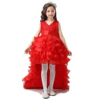 Trailing Lace Bow Princess Dress Kids Wedding Bridesmaid Pageant Party