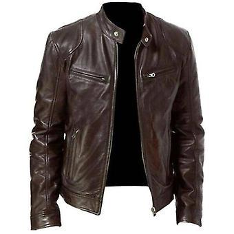 メンズ ジッパー レザー バイカー ジャケット オートバイ スタンド カラー コート アウトウェア