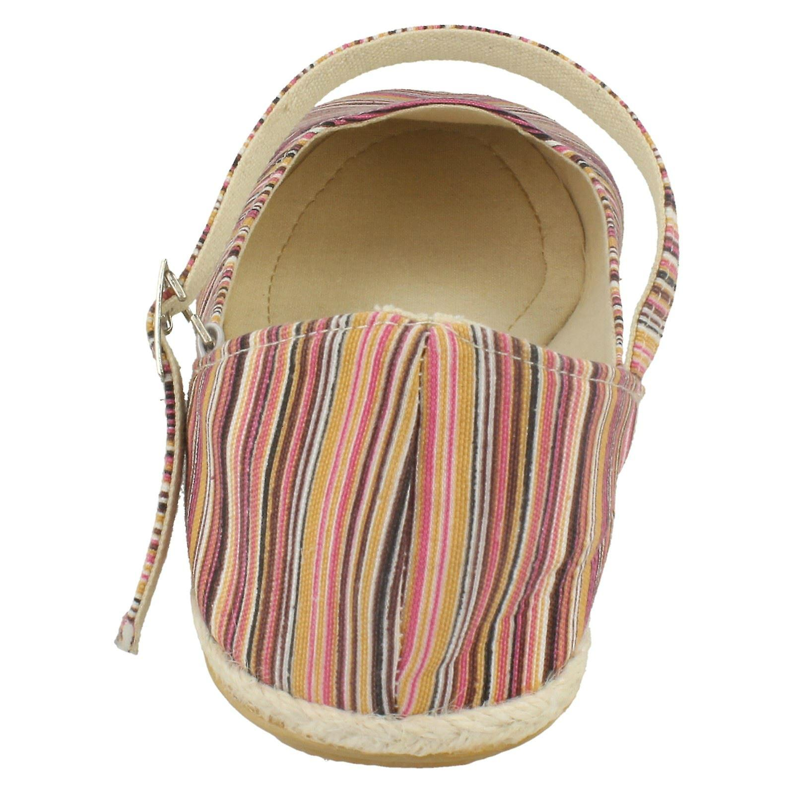 Ladies Spot On Flat Espadrille with Bar Strap