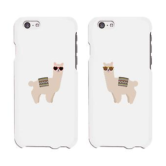 Llamas Sunglasses White Phone Case Cute Design Matching Sister Gift