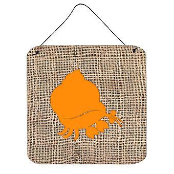 Eremitt krabbe Burlap og oransje veggen eller dør henger utskrifter BB1102