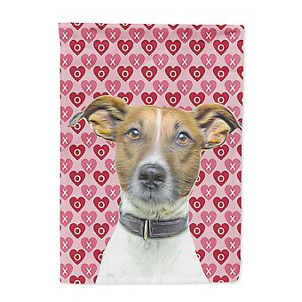 Hearts Love and Valentine's Day Jack Russell Terrier Flag Garden Size