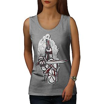 Knight Spartan Fantasy Women GreyTank Top | Wellcoda