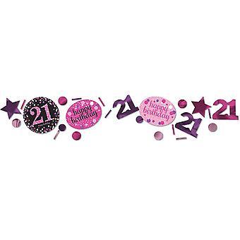 Amscan 1,2 oz rosa 21 aniversário espumante confete