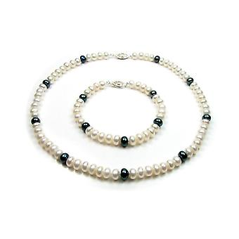 Parure Femme Collier Bracelet en Perles de culture d'eau douce Blanches et Noires et Fermoir en argent 925 1092