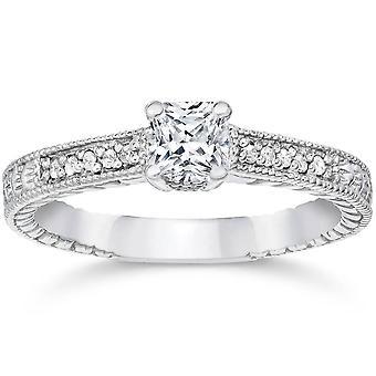 1 / 3ct Prinzessin Schnitt Diamant Verlobungsring 14K White Gold