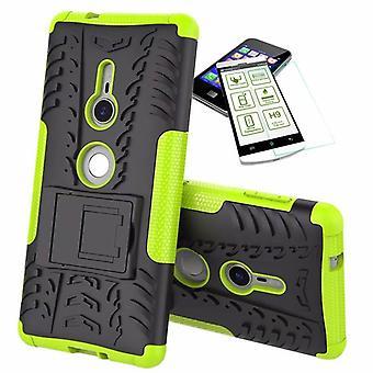 For Sony Xperia XZ2 hybrid sag 2 stykke grøn taske case + hærdet glas