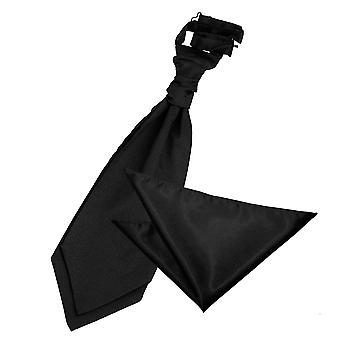 Cravat sposa in raso nero liscio & Set Square Pocket