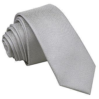 Silver Panama Silk Skinny Tie