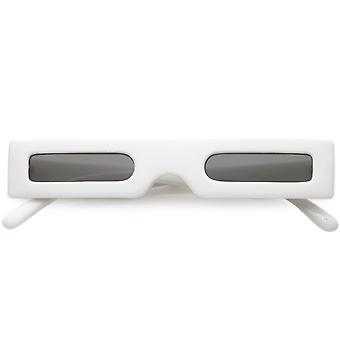 Novelty Futuristic Rectangle Sunglasses Wide Arms Flat Lens 46mm