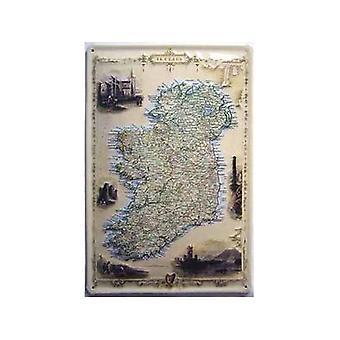 Vanha Kartta Irlanti kohokuvioitu teräksen merkki 300 X 200 Mm