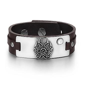 Nœuds celtiques anciens Aztèques Wolf patte amulette blanc simulé Cats Eye Bracelet cuir marron