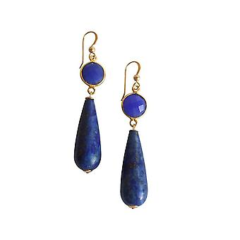 Gemshine Women's Earrings Gold plated Sapphire Lapis Lazuli Blue PARTY DROPS 5 cm