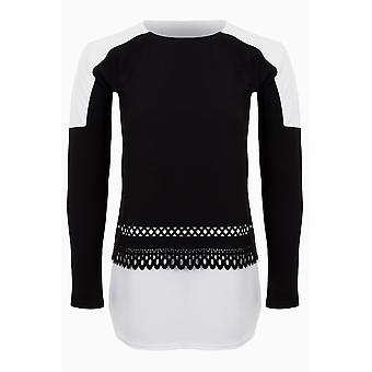 Ladies Long Sleeve Crepe Textured Contrast Curved Hem Laser Cut Top T-Shirt