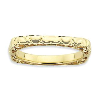 2.25mm 925 Sterling Silver Stackable Expressions Polished 14k Gold PlatedSquare Ring Jewelry Gifts for Women - Ring Size