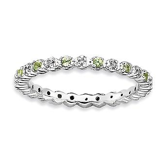 925 Sterling Silver Polished Prong set Rhodium plated Stackable Expressions Peridot and Diamond Ring Jewelry Gifts for W