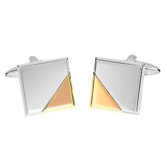 David Van Hagen glänzend quadratische abgeschnittenen Ecke Design Manschettenknöpfe - Rose Gold/Silber