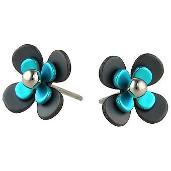 TI2 titanio nero indietro quattro petalo fiore orecchini - Kingfisher blu
