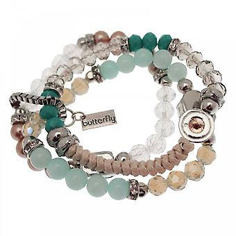 Butterfly Set Of Three Gem And Beaded Bracelets